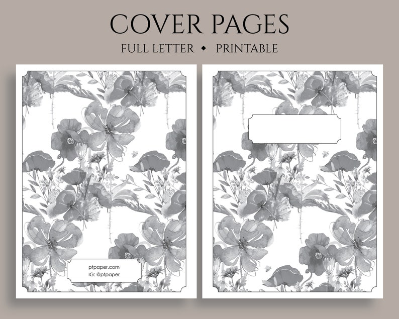 Planner Covers, Printable Planner Insert Title Pages, Planner Insert  Printable Cover Pages ~ Full Letter / 8 5