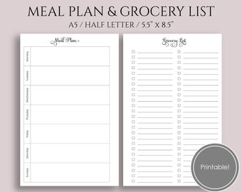 """Weekly Meal Planning and Grocery Shopping List, Printable Planner Inserts ~ A5 / 5.5"""" x 8.5"""" Instant Download PDF (MPGL)"""