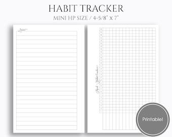 "Monthly Habit Tracker Printable Planner Inserts, Goals, Tasks, Habit Building Reminder ~ Mini Happy Planner / 4.6"" x 7"" Instant Download"