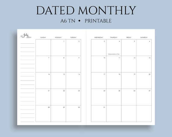 picture regarding Printable Monthly Calendar Dec called July 2019 - Dec 2020 Dated Month to month Calendar Printable Planner Inserts, Sunday Get started, MO2P, US Vacations ~ A6 TN / No 3 / 4.1\