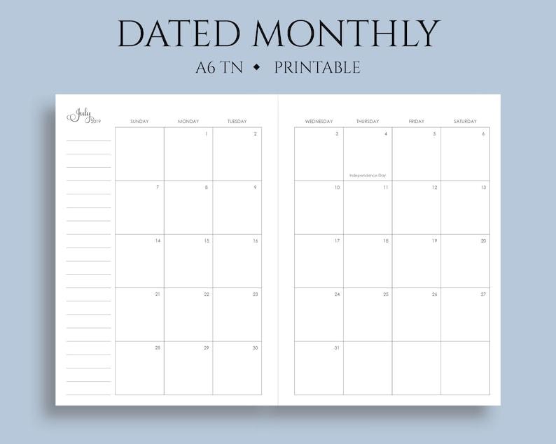Western Theme Calendar December 2020 July 2019 Dec 2020 Dated Monthly Calendar Printable Planner | Etsy