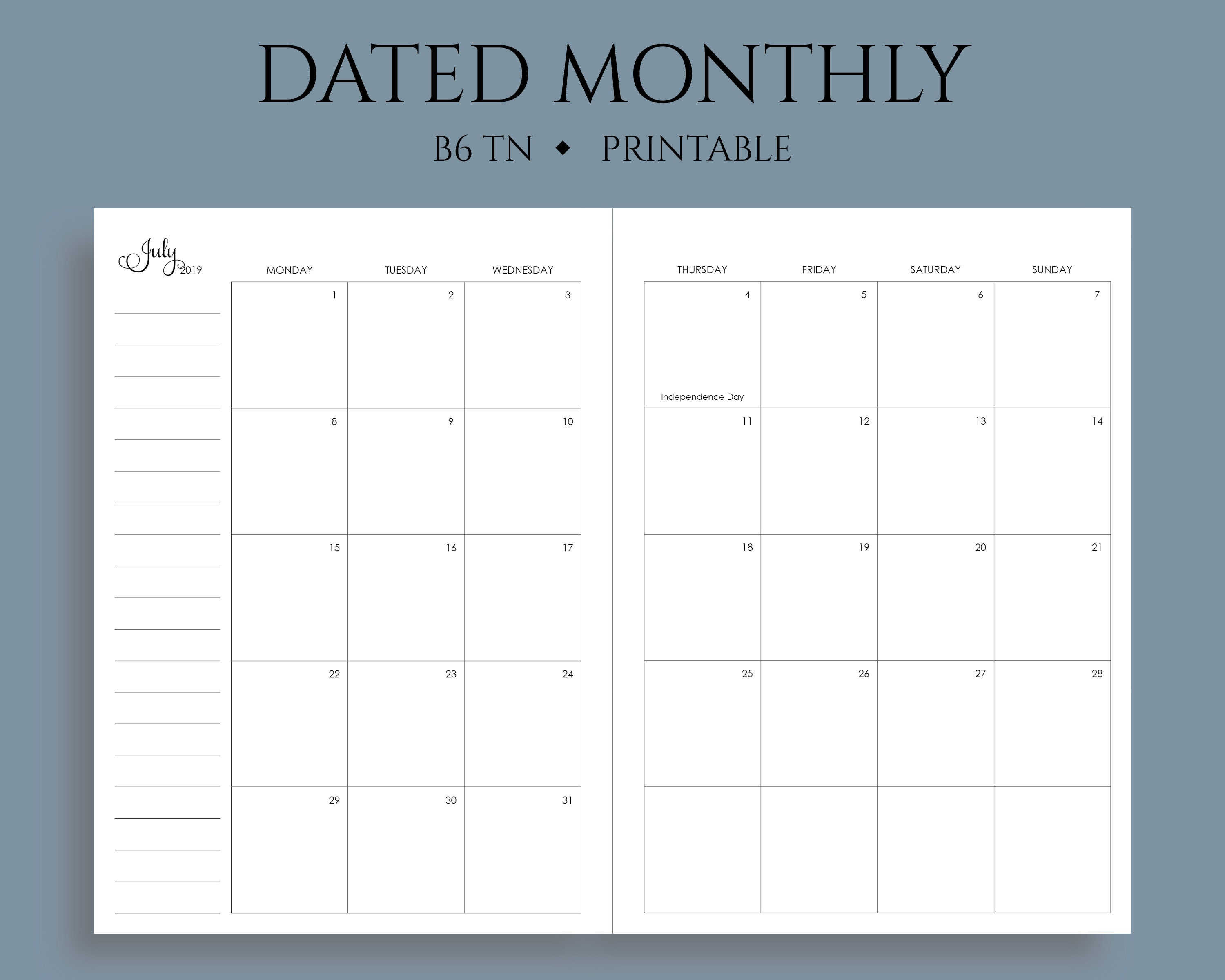 Ud Calendar 2020 July 2019 Dec 2020 Dated Monthly Calendar Printable Planner | Etsy