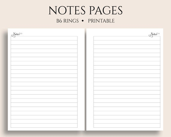 Lined Notes Pages Printable Planner Inserts Medium College Ruled Filler Paper Printable B6 Rings 5 3 X 7 Pdf Download