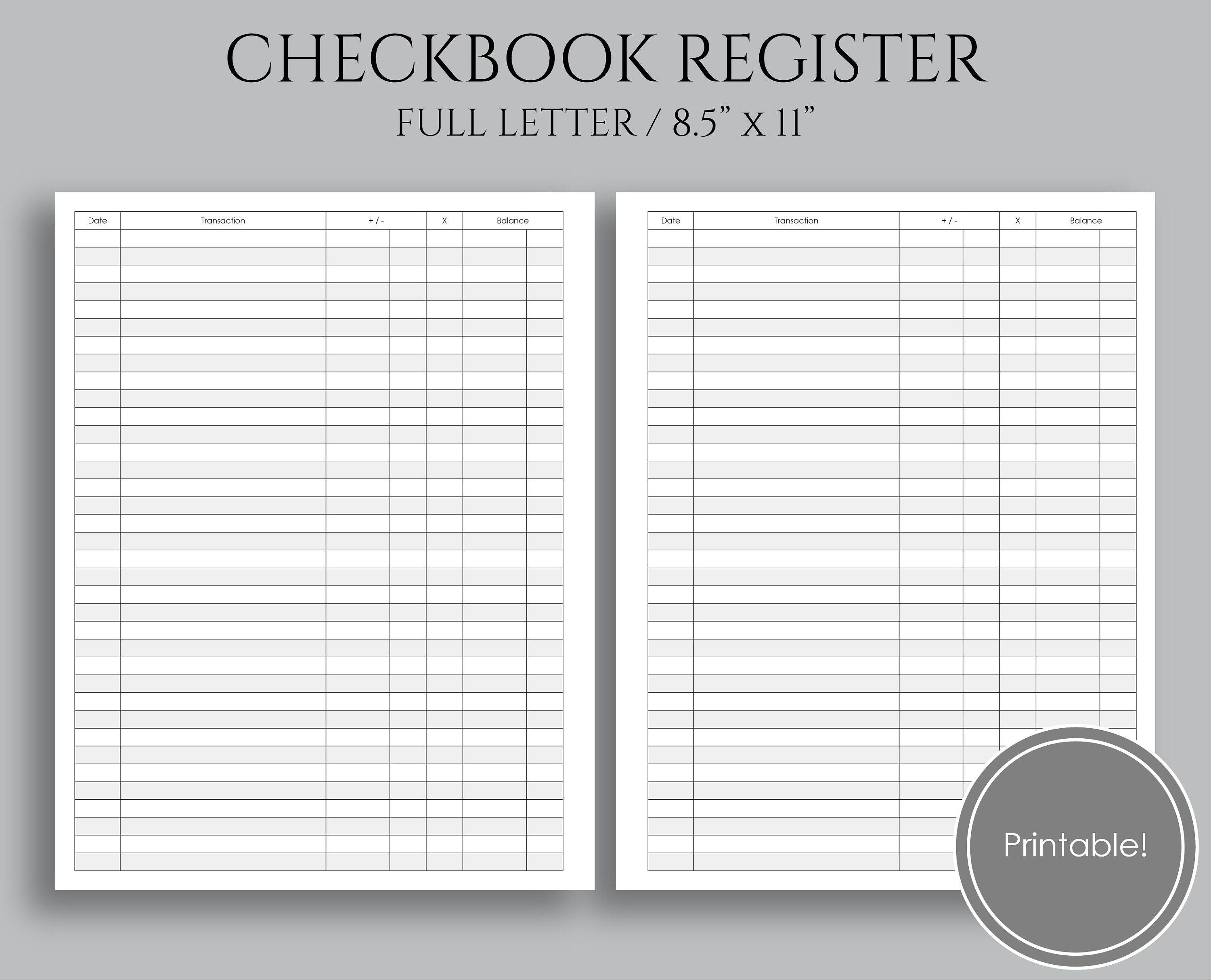 check register printable planner inserts budgeting and etsy