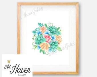 Succulent Wall Art, Watercolor Floral Print, Cactus Print, Succulent Poster, Succulent Print, Floral PRINTABLE Wall Art, Cactus Wall Art