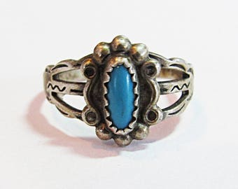 Vintage Sterling Silver Turquoise Native American Ring
