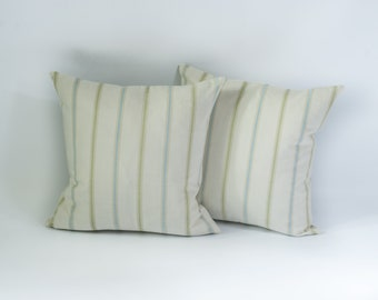 "Decorative Pillow Stripes Multicolour Neutral Green Inner 18x18"""