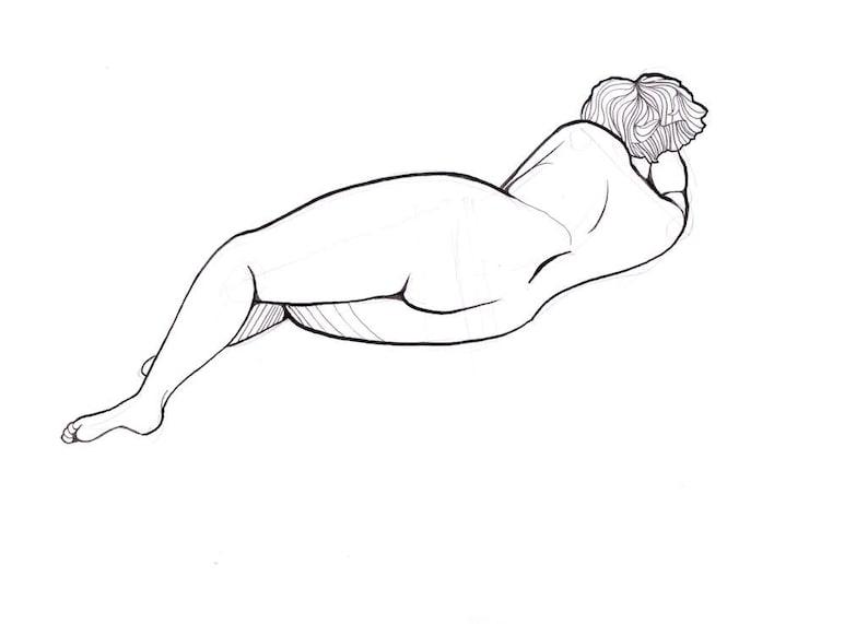 Original Vida Mujer Desnuda Dibujo Boceto En Lápiz Y Tinta