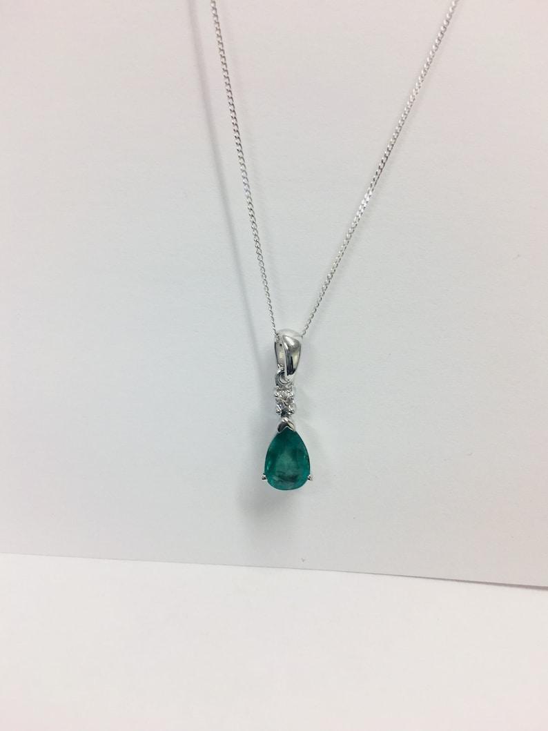 9ct white gold Emerald diamond pendant
