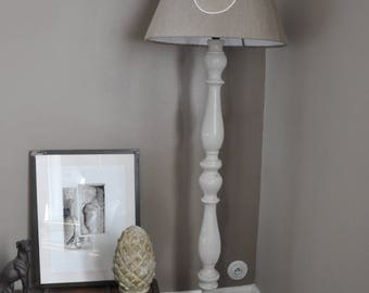 Floor lamp and shade in weathered wood and linen, Monogram