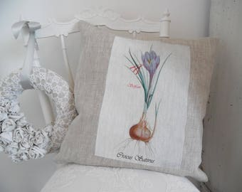 Cushion linen and cotton, printed on cover, nature, rustic Herbarium, flower