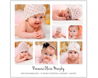 personalised baby photo collage digital file