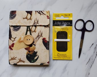 Needle book with Four Felt Pages and Front Pocket, Rooster Theme, Needle Case for Cross Stitch Embroidery Needlework