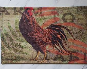 Small Vinyl Front Cross Stitch Embroidery Needlework Bag, Rooster Theme, Project Bag, Cross Stitch Storage, EPP Quilt Project Bag