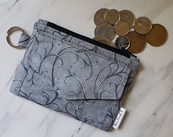 Small Pocket Card Mini ID Wallet with Zipper Coin Purse and ID Window for School or Work