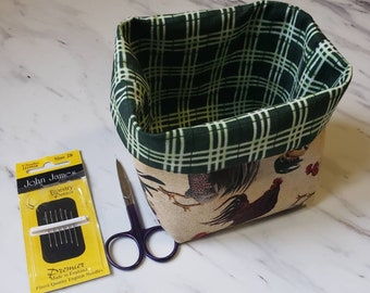 Small Fabric Thread Basket, Rooster Theme, ORT Basket, Fabric Basket, Hair or Make-up Accessories Basket