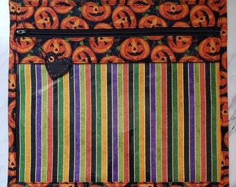 Halloween Vinyl Front Cross Stitch Embroidery Needlework Bag, Project Bag, Vinyl Bag,  Cross Stitch Storage, EPP Quilt Project Bag