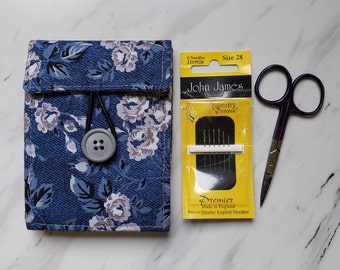 Needle book with Four Felt Pages and Front Pocket for Packet of Needles and Scissors, Needle Case for Cross Stitch Embroidery Needlework