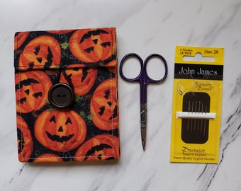 Halloween Needle book with Four Felt Pages and Front Pocket, Needle Case for Cross Stitch Embroidery Needlework