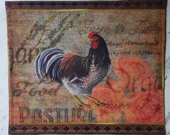 Vinyl Front Cross Stitch Embroidery Needlework Bag, Project Bag, Vinyl Bag,Rooster Theme, Cross Stitch Storage, EPP Quilt Project Bag