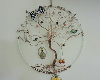 Jewelry holder tree of life with glass bead