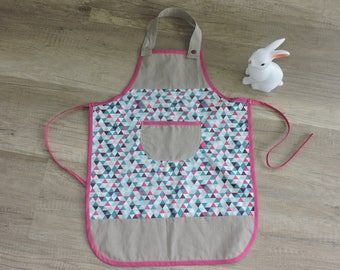 Apron personalized geometric taupe (made to order)