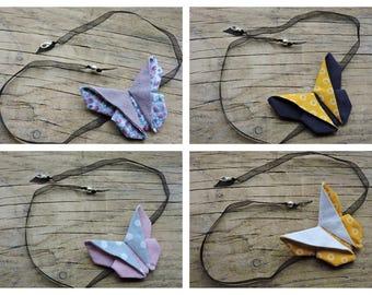 Collar de cinta y su plegado origami mariposa