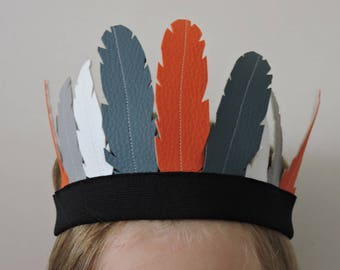 bandeau indien plumes simili cuir