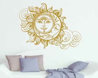 Sun And Moon Wall Decal Crescent Moon Decor Ethnic Symbol Decal Bedroom Decor Dorm Bohemian Boho Decal Sun And Moon Wall Art Decor S70