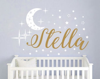 Name Wall Decal Baby Nursery Wall Decal Girl Name For Nursery Vinyl Decal Wall Decor Moon Stickers Decal Star Art Decor S111
