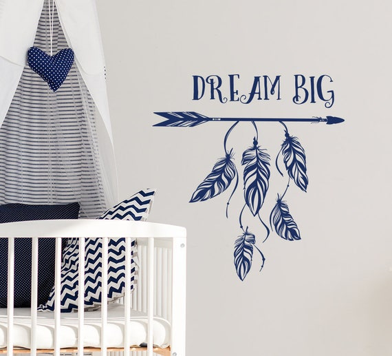 Feather Wall Decals, Dream Big Wall Decal, Boho Nursery Decals, Quote Vinyl  Sticker, Boho Arrow Vinyl Decal, Bohemian Bedroom Decor S11