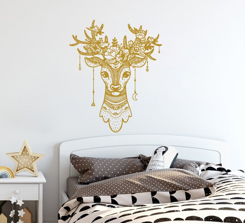 Exceptionnel Deer Antler Wall Decals Deer Wall Decal Deer Head Vinyl Decal Boho Style  Home Decor Deer Bedroom Decor Horns Hunting Wall Modern Decal S34