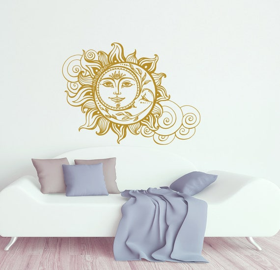 Sun And Moon Wall Decal Crescent Moon Decor Ethnic Symbol Etsy