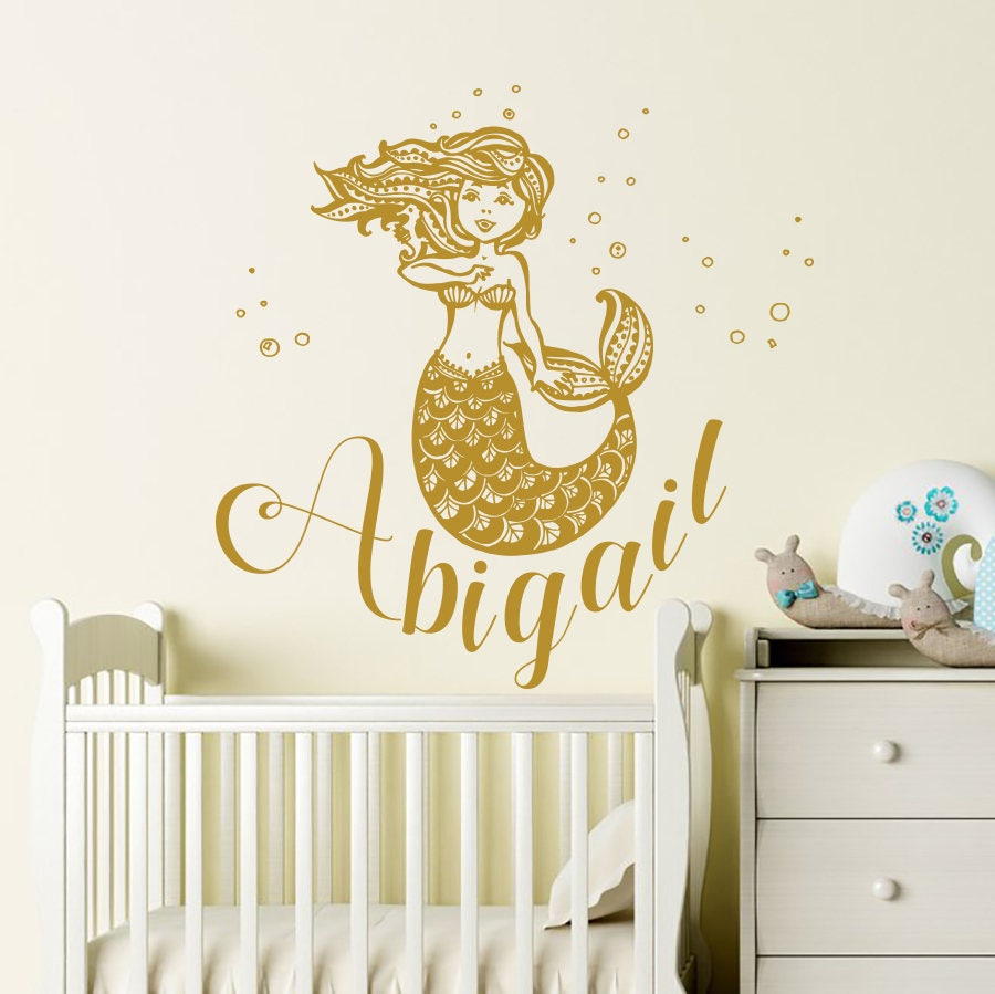 Name Wall Decals Mermaid Wall Decal Vinyl Decal Sea Ocean Wall | Etsy