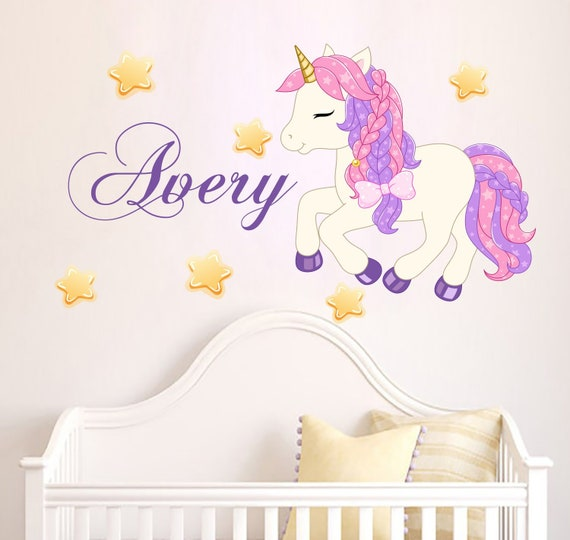 STARS Kids Removable Wall Decal Mural Personalised Name /& UNICORN