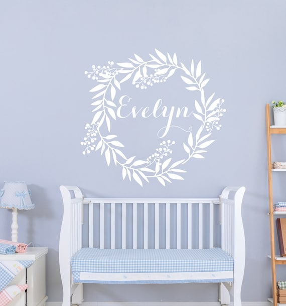 Personalized Wall Decal Name Decal Girls Nursery Decal Name Sticker Twig Grapevine Wreath Decal Rustic Nursery Decal Name Vinyl Decal S354