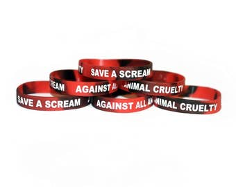 Save A Scream 'Against All Animal Cruelty' Animal Rights Silicone Wristband