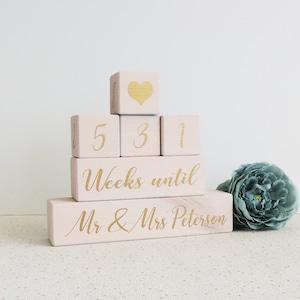 black and silver personalised wedding countdown wedding days wood days until