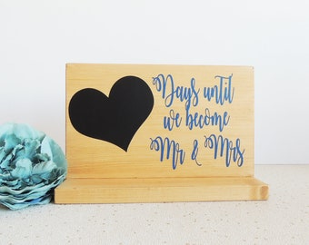 wedding countdown, engagement gift, gift for couple, proposal gift, wedding calender, mr and mrs ideas, rustic decor, days until, chalkboard