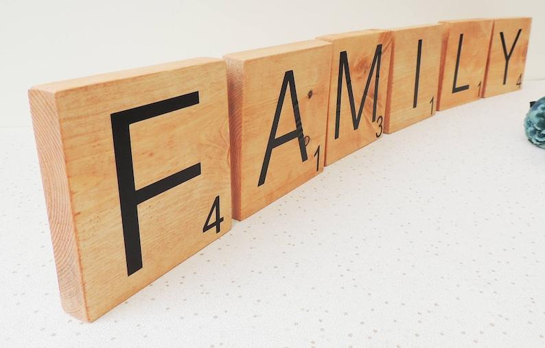 Grandi lettere in legno mattonelle del gioco di parola etsy