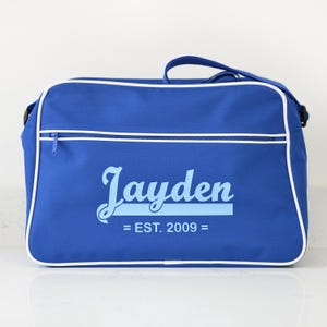 ad0e17a11a14 Personalised Blue Retro Shoulder Bag With Name