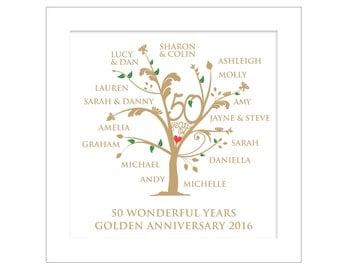 Personalised Golden Anniversary Family Tree Digital File