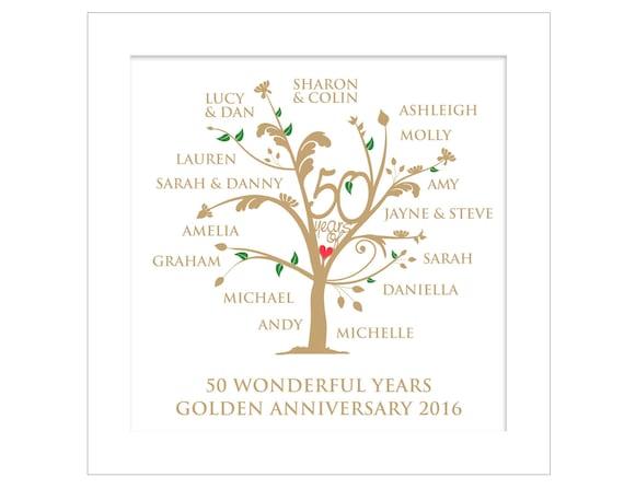 Personalisierte Goldene Hochzeit Stammbaum Digitale Datei