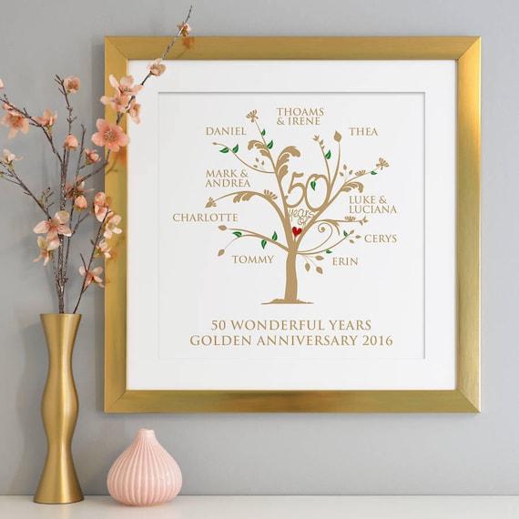 Golden Wedding Anniversary Gift Ideas: Personalised Golden Anniversary Family Tree Print