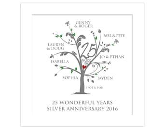 Personalised Silver Anniversary Family Tree Digital File