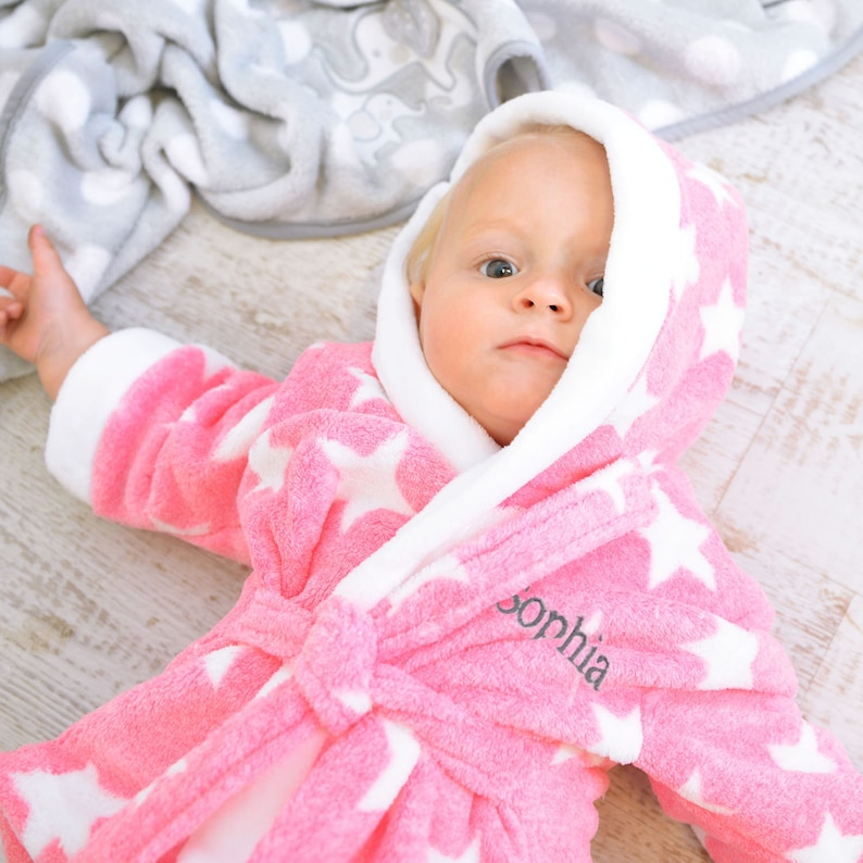 9590fa548 Personalised Star Soft Pink And White Dressing Gown