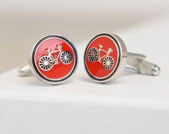 Round Bicycle Cufflinks Red
