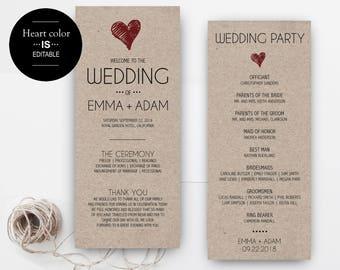 Wedding program template download, Printable Wedding Program, Rustic wedding, Ceremony printable template, instant download, editable