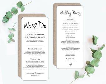 Wedding program template, Printable wedding program, Wedding ceremony program, Editable program, rustic wedding program fan