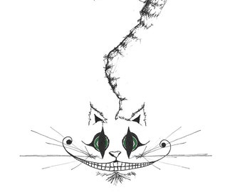 Black and white pen drawing of the Cheshire Cat